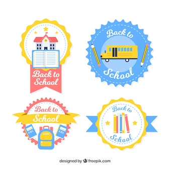 Circular back to school label collection