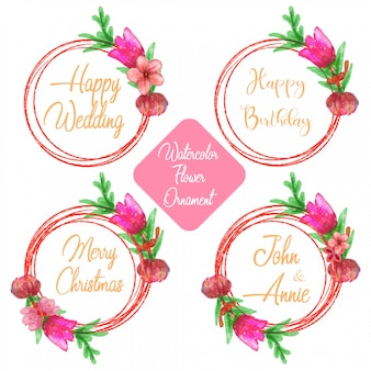 Circular background template with watercolor flower element in pack