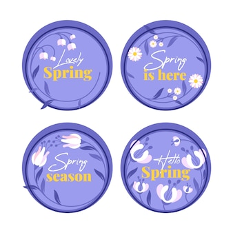Circular blue badges with flowers of spring