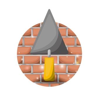 Circular brick wall and trowel spatula