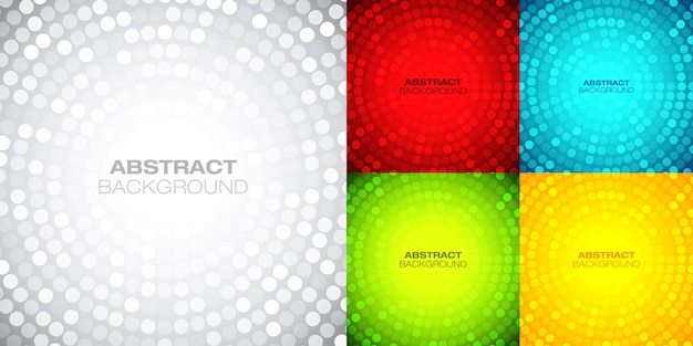 Circular bright backgrounds set techno gradient background abstract circle colorful frame vector