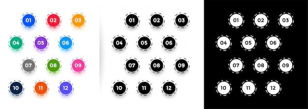 1から12までの円形の箇条書き番号