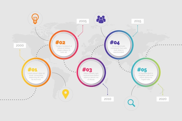 Круглые кнопки шкалы времени инфографики