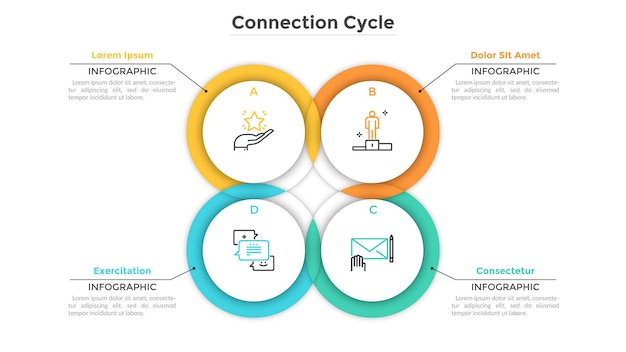 Circular chart consisted of 4 intersected or overlapping round elements. concept of production cycle with four stages. creative infographic design template. vector illustration for business report.
