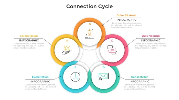 Circular chart consisted of 5 intersected or overlapping round elements. concept of production cycle with five stages. creative infographic design template. vector illustration for business report.