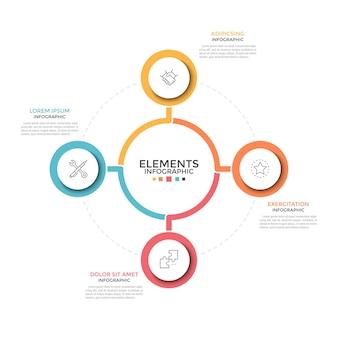 循環チャート。中央の要素の周りに配置された内部に線形シンボルを持つ4つのカラフルな円形要素。選択する4つのビジネスオプションの概念。最小限のインフォグラフィックデザインテンプレート。