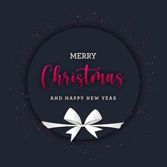 Circular christmas banner with red glitter and white gift bow