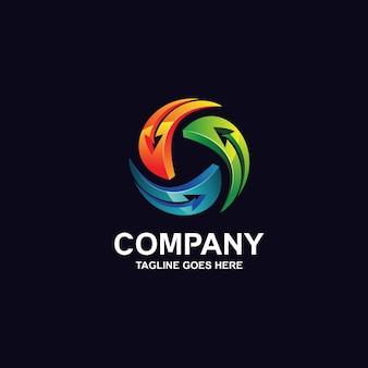 Circular colorful arrows logo design