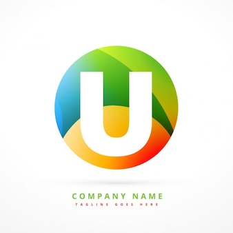 Циркуляр красочный логотип с первоначальной u