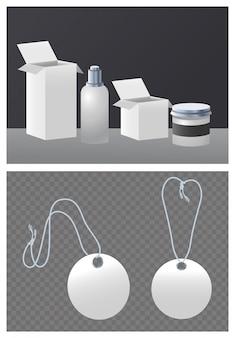 円形の商用タグと白いパッケージセット