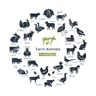 Circular composition of farm animals silhouettes.