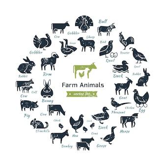農場の動物のシルエットの円形の組成。