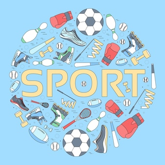 Circular concept of sports equipment background.