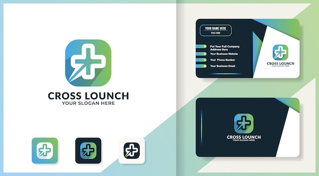 Circular cross in square logo and business card design