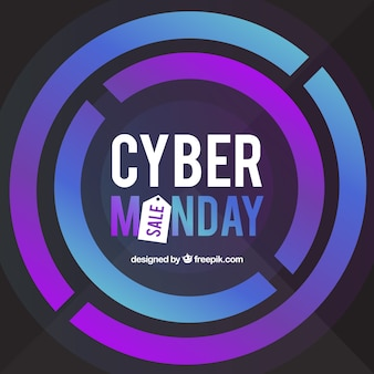 Circular cyber monday design in flat style