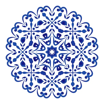 Circular decorative floral blue and white