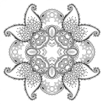Circular decorative ornament in ethnic oriental style, in form of mandala with flower decoration. outline doodle hand draw  illustration.
