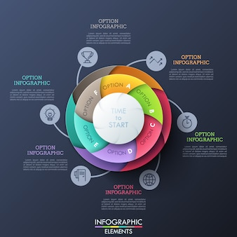 Circular diagram divided into six multicolored spiral sectors connected with thin line icons and text boxes. six features of business development process.