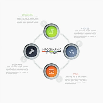 Circular diagram with 4 connected round elements, pictograms and text boxes