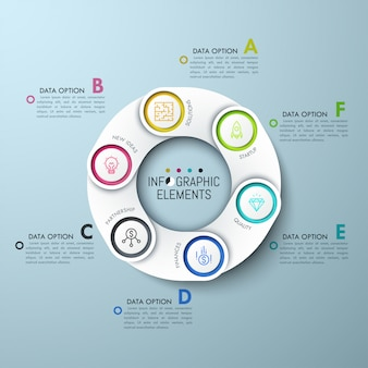 Circular diagram with  paper white overlaying elements, icons and lettered text boxes.