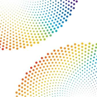 Circular dots in colorful rainbow