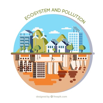 Circular ecosystem and pollution concept
