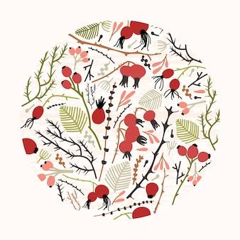 Круглый цветочный орнамент или естественный декоративный элемент дизайна, состоящий из веток, веточек, листьев и ягод или плодов шиповника.