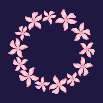 Circular floral decorative frame