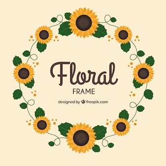 Circular floral frame with flat design