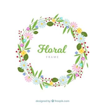 평면 디자인의 원형 꽃 프레임