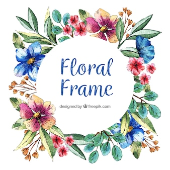 Circular floral frame with watercolor style
