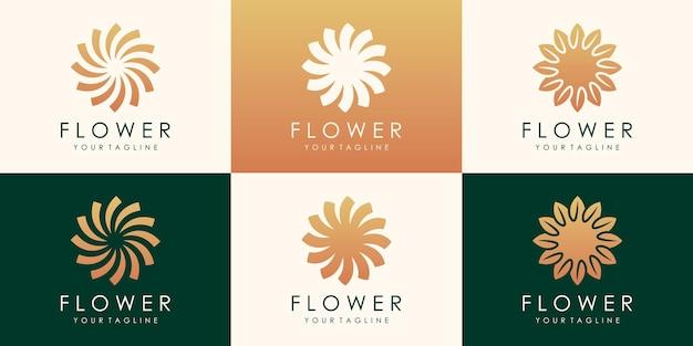 원형 꽃 로터스 황금 로고 디자인. 선형 보편적 인 잎 꽃 로고