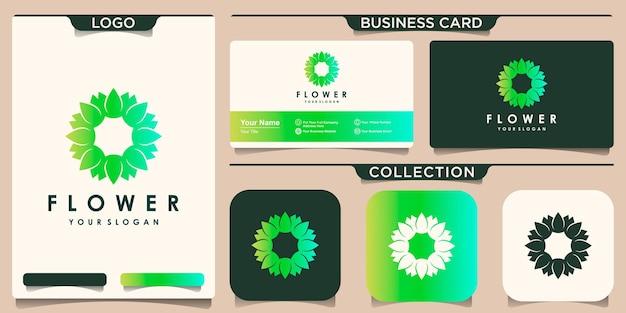 원형 꽃 연꽃 로고 디자인 영감과 명함