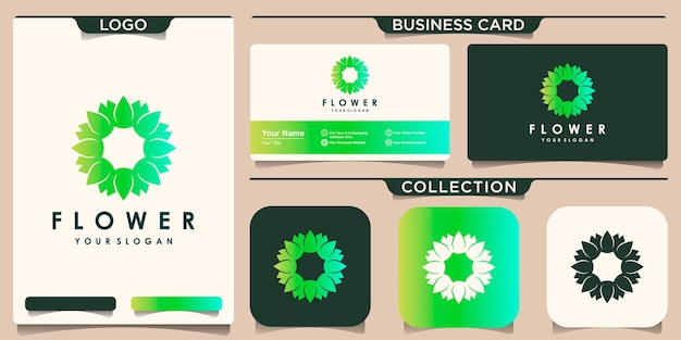 Circular flower lotus logo design inspiration and business card
