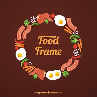 Circular food frame background