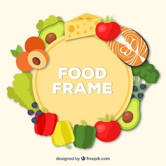 Circular food frame background