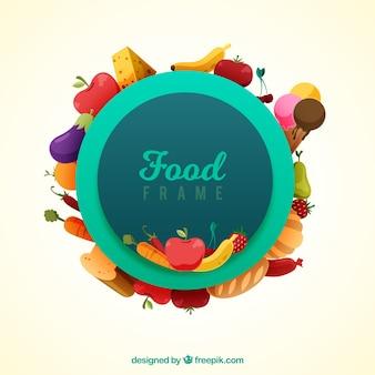 Circular food frame with flat design
