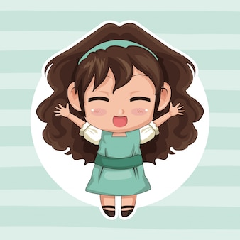 Circular frame and cute anime girl wink expression open arms with curly hairstyle