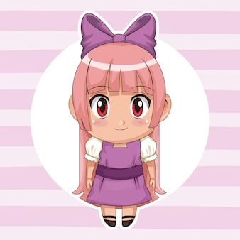 Circular frame and cute anime girl with bow lace in long straight hairstyle