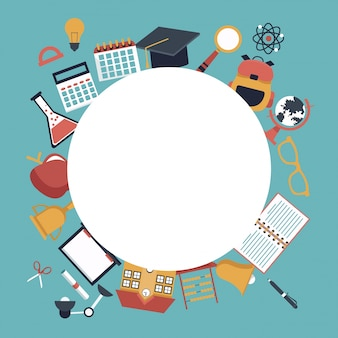 Circular frame empty and set school elements icons around