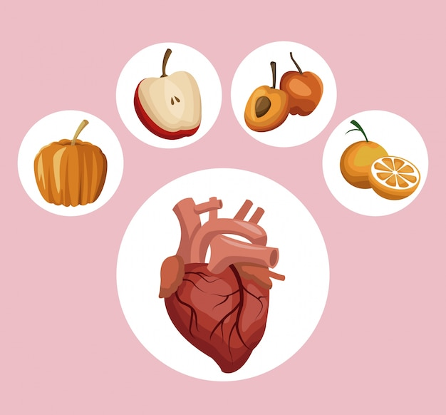 Circular frame heart vegetable and fruits healthy food icons