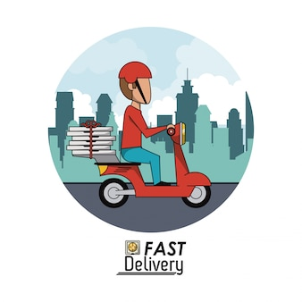 高速ピザの配達人と円形のフレームポスターの街並み