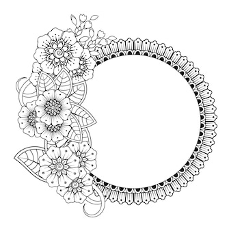 Circular frame with flowers, mehndi. coloring page.