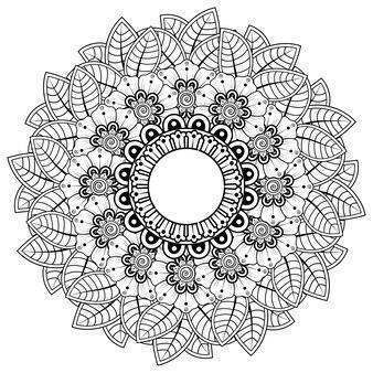 フロー、一時的な刺青の装飾が施された円形フレーム。エスニックオリエンタルスタイルの装飾飾り。