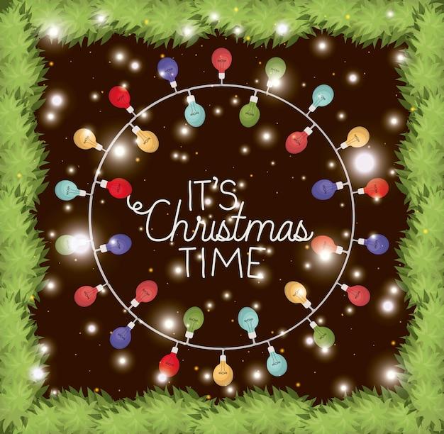 Circular frame with garlands and christmas lights