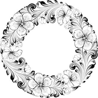 手描きの花の円形フレーム
