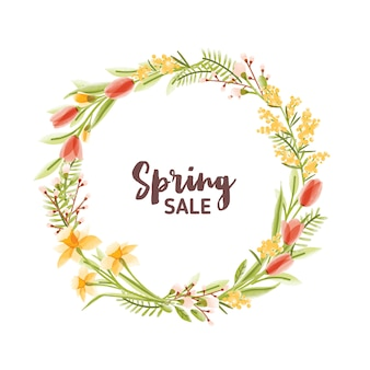 Circular frame or wreath made of colorful blooming seasonal garden flowers leaves and spring sale lettering inside. natural springtime decoration. floral illustration in modern flat style.