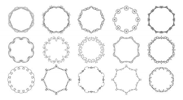 원형 프레임 워크 디바이더 붓글씨 세트입니다. 둥근 테두리가 번성합니다. 우아한 그래픽 요소 잉크 검은 그림. 삽화