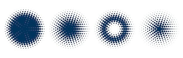 Circular halftone pattern set of four