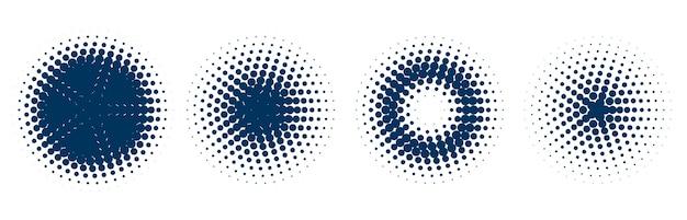 4つの円形ハーフトーンパターンセット